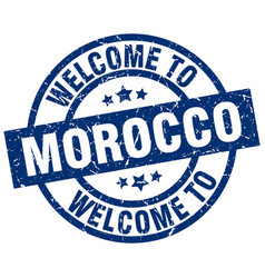 Welcome to morocco blue stamp vector