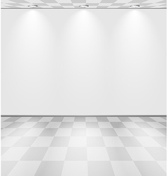 White lightened room with checkered floor vector image