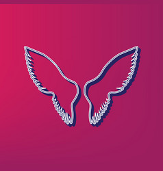 Wings sign blue 3d printed vector