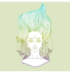 Young beautiful woman with flower peony tattoo vector