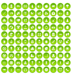 100 maternity leave icons set green circle vector