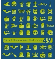 Set of halloween flat icons vector