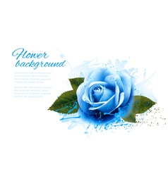 Greeting card with blue rose vector