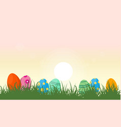 Landscape of easter egg and grass vector