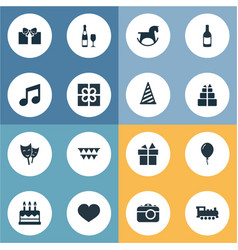 Set of simple holiday icons vector