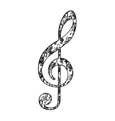 Treble clef in monochrome silhouette formed by vector
