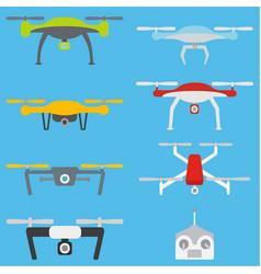 Set of aerial drones vector
