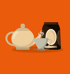colorful background set packaking of coffee and vector image
