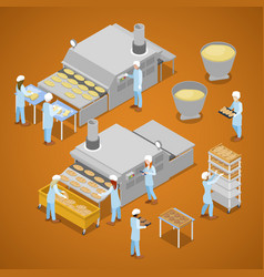 Interior of baking production isometric vector