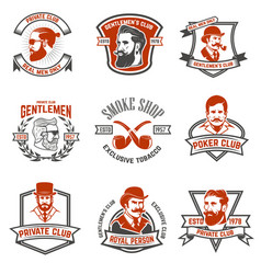 Set of gentlemens private club labels poker and vector
