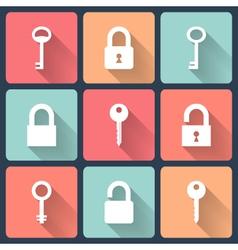 Key and padlock flat icons set vector