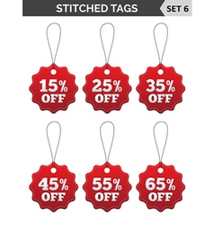 Stitched tags set 6 vector