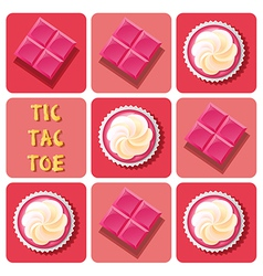 Tic-tac-toe of strawberry cup cake and strawberry vector