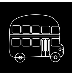 Symbol double-decker bus black background vector