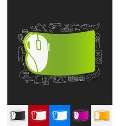 Computer mouse paper sticker with hand drawn vector