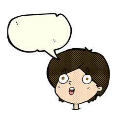 Cartoon amazed expression with speech bubble vector