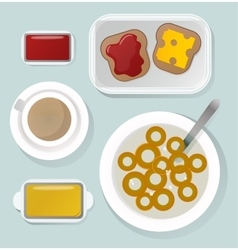 Breakfast flat top view set icons silhouette vector