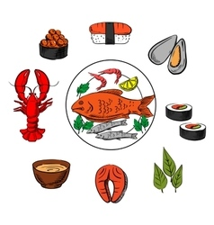 Seafood fish and condiment elements vector