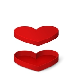 Open Red Gift Box in Heart Shaped Isolated for vector image