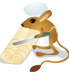 Jerboa chef cuts the dough vector
