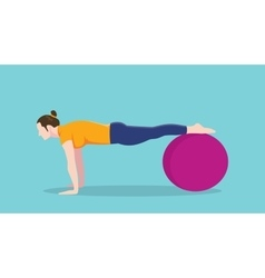 Women push up use exercise ball graphic vector