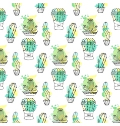 Seamless pattern with cactus colorful vector