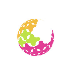Abstract sphere logo with color texture sign for vector
