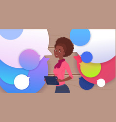 african american businesswoman holding tablet vector image vector image