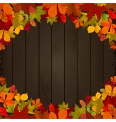Autumn leaves on dark wooden background Design vector image