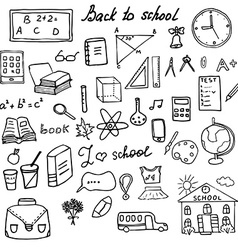 Back to school supplies sketchy doodles set with vector