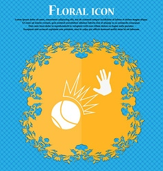 Basketball icon Floral flat design on a blue vector image vector image