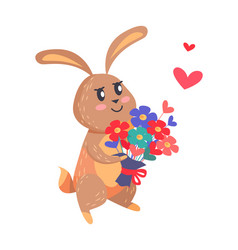 Bunny with bouquet of flowers isolated on white vector