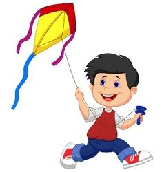 Cartoon boy playing kite vector image