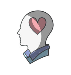 color silhouette head with heart inside vector image vector image