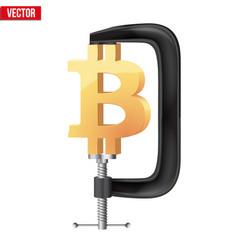 Cryptocurrency symbol bitcoin under pressure vector