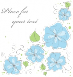 cute blue vector floral background vector image vector image