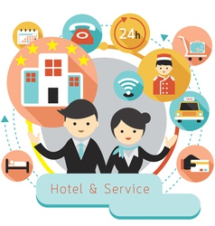 Hotel accommodation amenities services icons headi vector