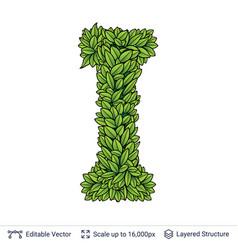 Letter i symbol of green leaves vector