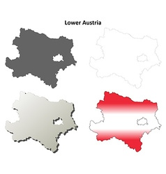 Lower austria blank detailed outline map set vector