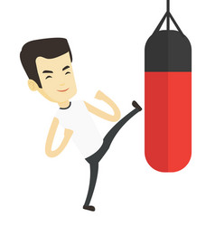 Man exercising with punching bag vector