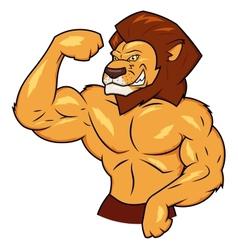 Muscular lion is posing vector