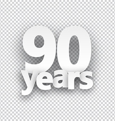 Ninety years paper sign vector image vector image