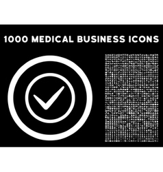 Ok rounded icon with medical bonus vector