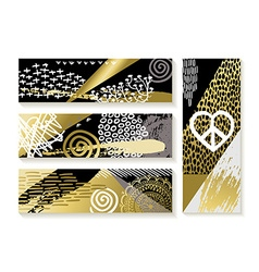 Set of modern gold banners and fashion designs vector