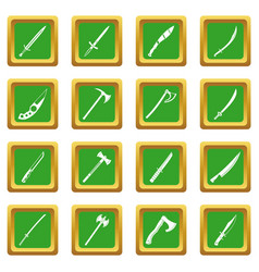 Steel arms symbols icons set green vector