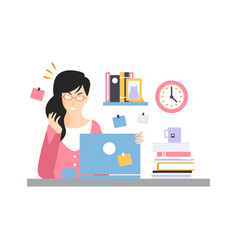 stressed busy young businesswoman character vector image