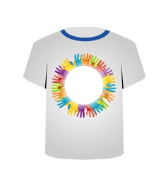 T Shirt Template- colorful hands vector image
