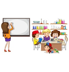 Teacher and children in the classroom vector