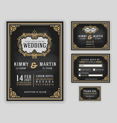 vintage luxurious wedding invitation vector image vector image