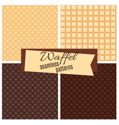 waffel seamless patterns set vector image vector image